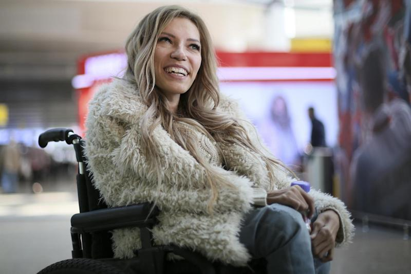 Russian singer Yulia Samoylova, who was chosen to represent Russia in the 2017 Eurovision Song Contest: AP