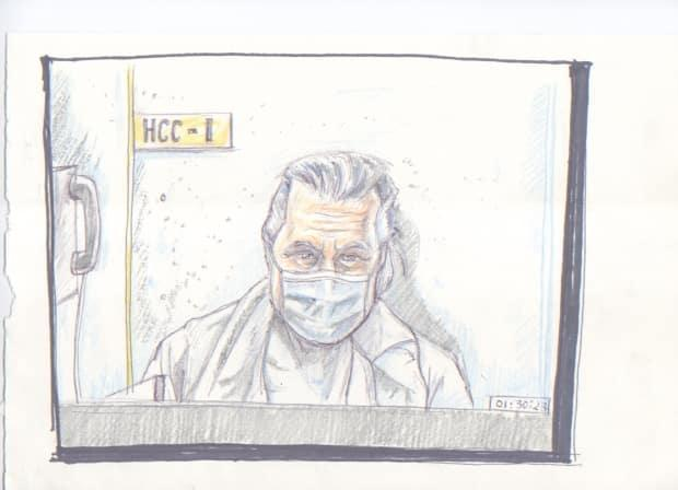 A court sketch from the first day of Peter Nygard's bail hearing at Manitoba Court of Queen's Bench on Jan. 19, 2021. Nygard, shown here, appeared by video link from Headingley Correctional Centre. (Tadens Mpwene/La Liberté Manitoba - image credit)