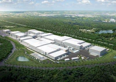 This rendering shows the SK Battery America site in Georgia. SK Innovation has committed to investing $2.6 billion and creating 2,600 jobs to build two EV battery plants at the site northeast of Atlanta.