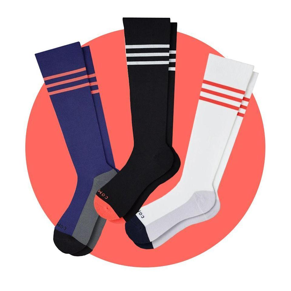 """<p><strong>Comrad</strong></p><p>comradsocks.com</p><p><strong>$69.00</strong></p><p><a href=""""https://go.redirectingat.com?id=74968X1596630&url=https%3A%2F%2Fwww.comradsocks.com%2Fproducts%2Fknee-high-compression-socks-3-pack-mixed%3Fvariant%3D31509576417314&sref=https%3A%2F%2Fwww.bestproducts.com%2Flifestyle%2Fg34449251%2Fbest-of-the-best-2020%2F"""" rel=""""nofollow noopener"""" target=""""_blank"""" data-ylk=""""slk:Shop Now"""" class=""""link rapid-noclick-resp"""">Shop Now</a></p><p>Whether you're experiencing sore calves, protruding varicose veins, swollen feet, or just tired, antsy legs from sitting, Comrad's compression socks offer a gentle, supportive reprieve, with a nice hint of stylish swagger. </p><p>While these socks are snug, once they're on, <a href=""""https://www.bestproducts.com/fashion/a31788532/comrad-compression-socks-review/"""" rel=""""nofollow noopener"""" target=""""_blank"""" data-ylk=""""slk:you'll quickly forget that you're even wearing them"""" class=""""link rapid-noclick-resp"""">you'll quickly forget that you're even wearing them</a>. They apply gentle pressure around the arches of the feet, the shins, and the calves, but they never feel too tight or like you might need to stretch them out. </p>"""