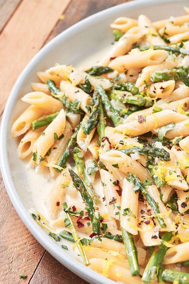 """<p><a href=""""https://www.delish.com/uk/cooking/a29557777/cook-asparagus/"""" rel=""""nofollow noopener"""" target=""""_blank"""" data-ylk=""""slk:Asparagus"""" class=""""link rapid-noclick-resp"""">Asparagus</a> season may run through the spring months from March to June but it hits its prime in April. If you can get your hands on some quality in-season <a href=""""https://www.delish.com/uk/food-news/a31473948/why-does-asparagus-make-your-wee-smell/"""" rel=""""nofollow noopener"""" target=""""_blank"""" data-ylk=""""slk:asparagus"""" class=""""link rapid-noclick-resp"""">asparagus</a>, give this recipe a try. We shine a spotlight on the star ingredient with a supporting cast of creamy white wine sauce, deeply infused with fragrant lemony notes and a nice salty Parmesan kick.</p><p>Get the <a href=""""https://www.delish.com/uk/cooking/recipes/a32247844/lemony-asparagus-pasta-recipe/"""" rel=""""nofollow noopener"""" target=""""_blank"""" data-ylk=""""slk:Lemony Asparagus Pasta"""" class=""""link rapid-noclick-resp"""">Lemony Asparagus Pasta</a> recipe.</p>"""