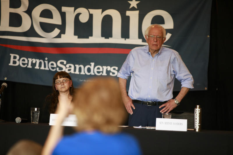 COUNCIL BLUFFS, IOWA, UNITED STATES - 2019/07/20: Senator Bernie Sanders, who is running for the Democratic nomination for President of the United States, listens as seniors talk about senior healthcare issues and insurance coverage problems during a Senior Issues Round table at The Gathering Room. (Photo by Jeremy Hogan/SOPA Images/LightRocket via Getty Images)