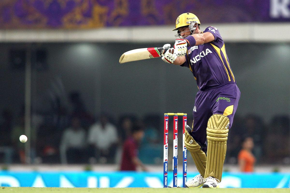 Jacques Kallis of Kolkata Knight Riders drives a delivery during match 60 of the Pepsi Indian Premier League between The Kolkata Knight Riders and the Royal Challengers Bangalore held at the JSCA International Stadium Complex, Ranchi, India on the 12th May 2013. (BCCI)