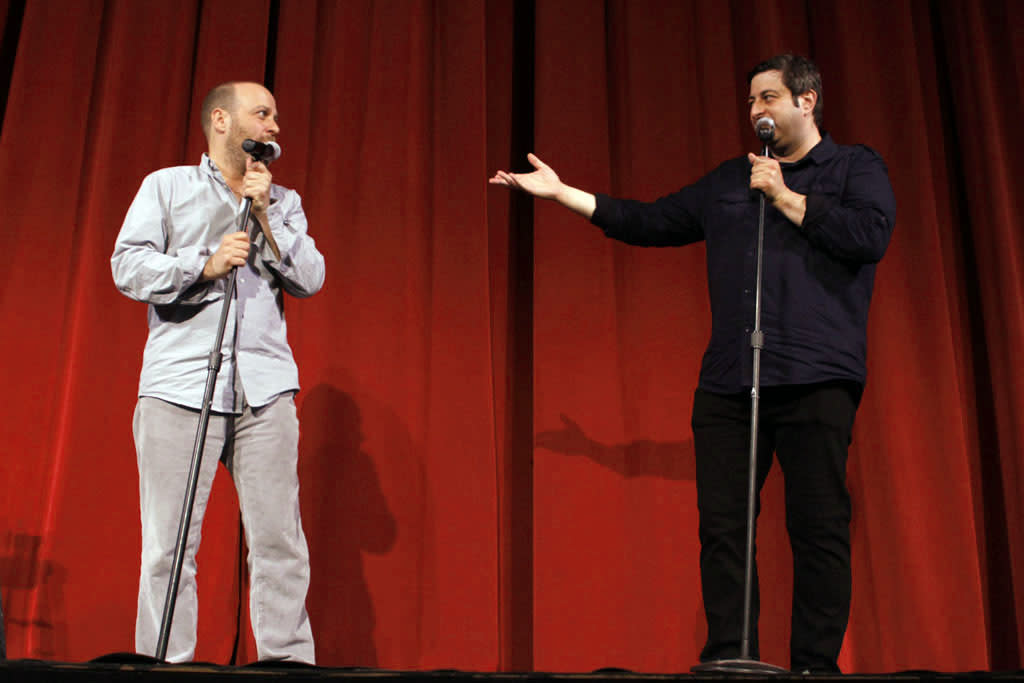 "Cast members H. Jon Benjamin and Eugene Mirman perform during ""Bob's Burgers Live!""  at the WIlshire Ebell Theatre on Tuesday, May 7 in Los Angeles, CA."