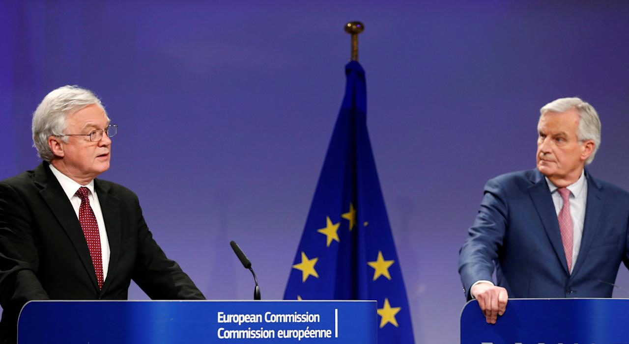 Britain's Secretary of State for Exiting the European Union David Davis and European Union's chief Brexit negotiator Michel Barnier address a joint news conference in Brussels, Belgium March 19, 2018. REUTERS/Francois Lenoir