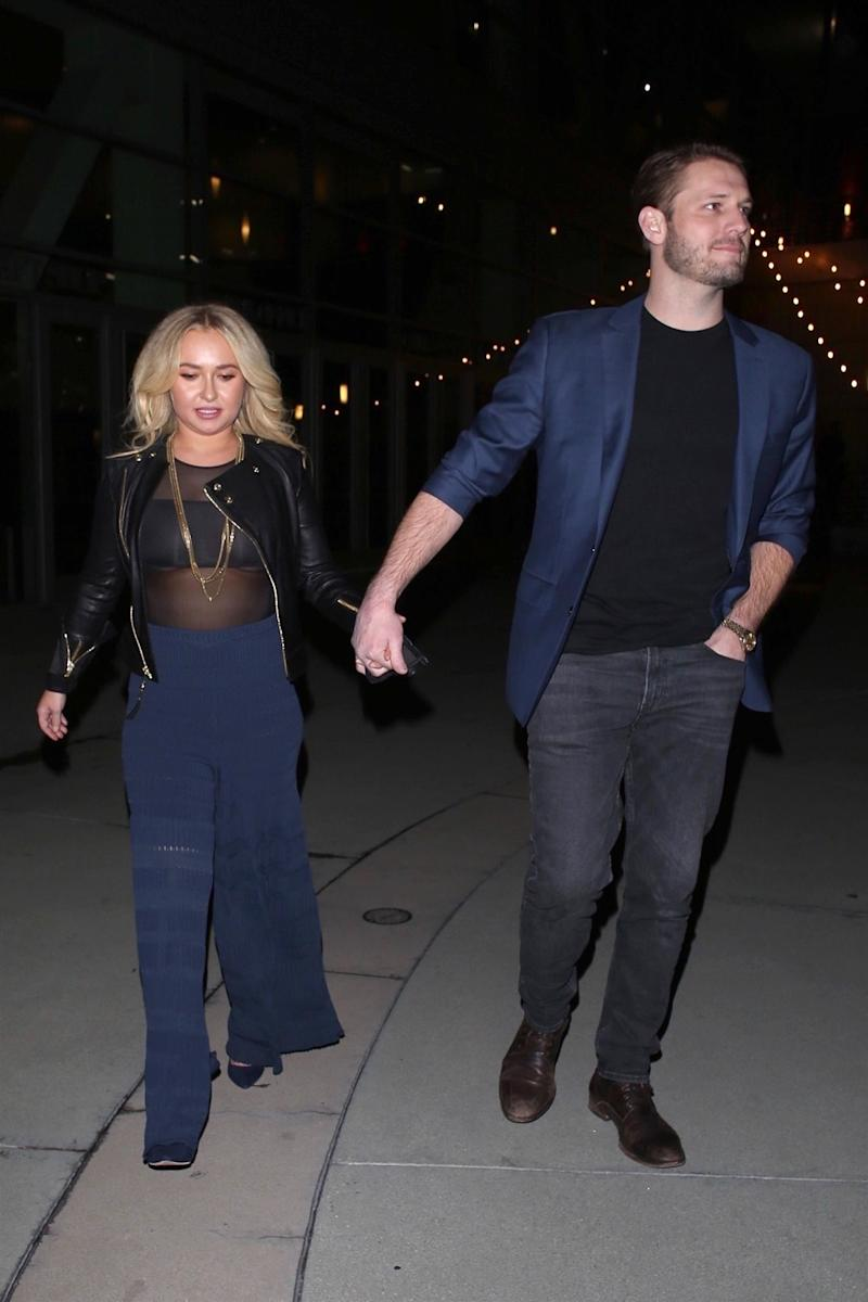 Hollywood, CA - Actress Hayden Panettiere's boyfriend Brian Hickerson was arrested for domestic violence after an altercation at the couple's home during the early hours of Thursday. Things got ugly between the pair after they came home following a night of drinking in Hollywood and got into a blow-up fight, according to insiders who spoke to TMZ. Police visited the residence around 2am, when they noticed 'redness and marks' on the Nashville actress' body. Pictured on these file photos enjoying a movie night at ArcLight theater in Hollywood. **SHOT ON 01/31/2019** Pictured: Hayden Panettiere, Brian Hickerson BACKGRID USA 3 MAY 2019 BYLINE MUST READ: Roger / BACKGRID USA: +1 310 798 9111 / usasales@backgrid.com UK: +44 208 344 2007 / uksales@backgrid.com *UK Clients - Pictures Containing Children Please Pixelate Face Prior To Publication*
