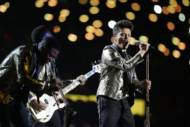 Bruno Mars performs during the halftime show of the NFL Super Bowl XLVIII football game Sunday, Feb. 2, 2014, in East Rutherford, N.J. (AP Photo/Julio Cortez)