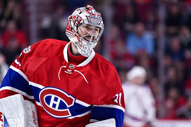 <p>The Canadiens signed Price to an eight-year contact extension that reportedly carries an annual cap hit of US$10.5 million. It's the richest contract ever for a goalie. (Getty Images) </p>