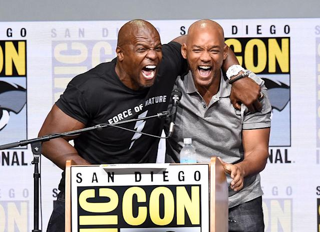 "<p>In case you couldn't tell, the actors were ecstatic to be sharing the stage at Comic-Con. It happened Thursday, when Smith unveiled the first trailer for his upcoming Netflix movie, <a href=""https://www.yahoo.com/movies/will-smith-unveils-fantastical-first-bright-trailer-comic-con-004408536.html"" data-ylk=""slk:Bright"" class=""link rapid-noclick-resp""><i>Bright</i></a>, during a panel discussion moderated by Crews. (Photo: Kevin Winter/Getty Images) </p>"