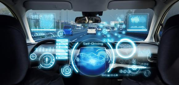 The a futuristic looking console of a self-driving car.
