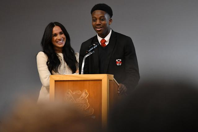 Meghan visited a school in east London for International Women's Day. (Getty Images)