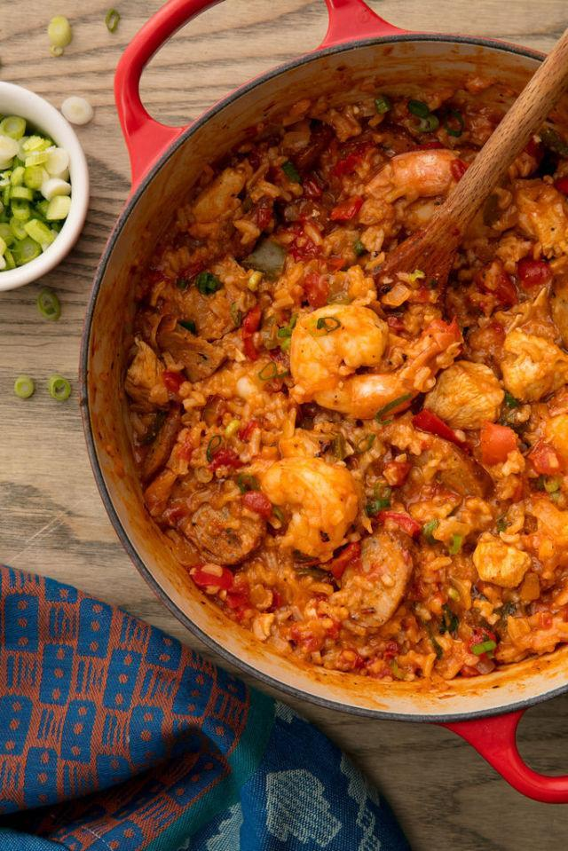 """<p><span>This dish will transport you straight to the French quarter.</span></p><p>Get the recipe from <a href=""""http://www.delish.com/cooking/recipe-ideas/recipes/a53820/easy-homemade-cajun-jambalaya-recipe/"""" rel=""""nofollow noopener"""" target=""""_blank"""" data-ylk=""""slk:Delish"""" class=""""link rapid-noclick-resp"""">Delish</a>.</p><p><strong><em>BUY NOW: Le Creuset Enameled Cast Iron, $330, <a href=""""https://www.amazon.com/Creuset-Signature-Enameled-Cast-Iron-2-Quart/dp/B0076NOGPY/ref=sr_1_4?tag=syndication-20&s=home-garden&ie=UTF8&qid=1507827804&sr=1-4&keywords=le+creuset+dutch+oven&&ascsubtag=[artid"""" rel=""""nofollow noopener"""" target=""""_blank"""" data-ylk=""""slk:amazon.com"""" class=""""link rapid-noclick-resp"""">amazon.com</a>.</em></strong></p>"""