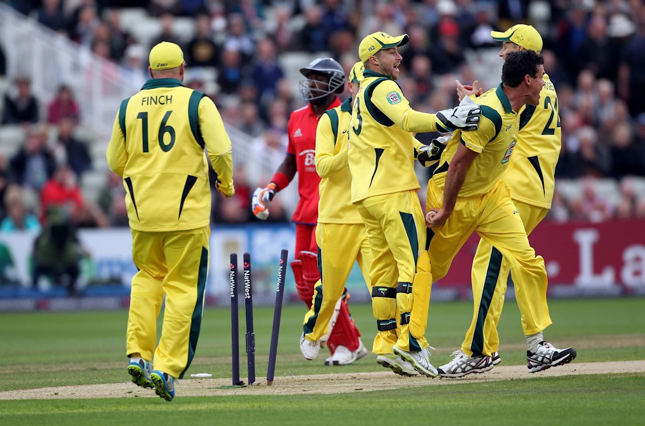 England's Michael Carberry is run out by Australia's Clint Mckay during the Third One Day International at Edgbaston, Birmingham.