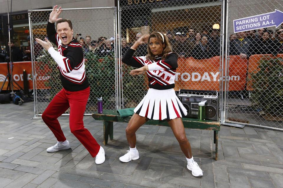 <p>It was peppy cheerleader time for Willie and Tamron, as the two mimicked Will Ferrell and Cheri Oteri's well-known skit for the morning show special.</p>