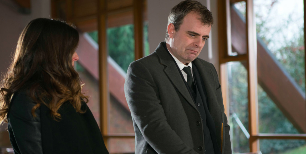 <p>Steve and Michelle are reunited at baby Ruairi's funeral. Billy lays him to rest with only his parents in attendance. The pair are united in their grief. </p>