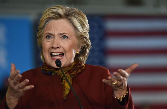 <p>Hillary Clinton addresses a campaign event, October 22, 2016 at Taylor Allderdice High School in Pittsburgh, Pennsylvania. (Robyn Beck/AFP/Getty Images) </p>