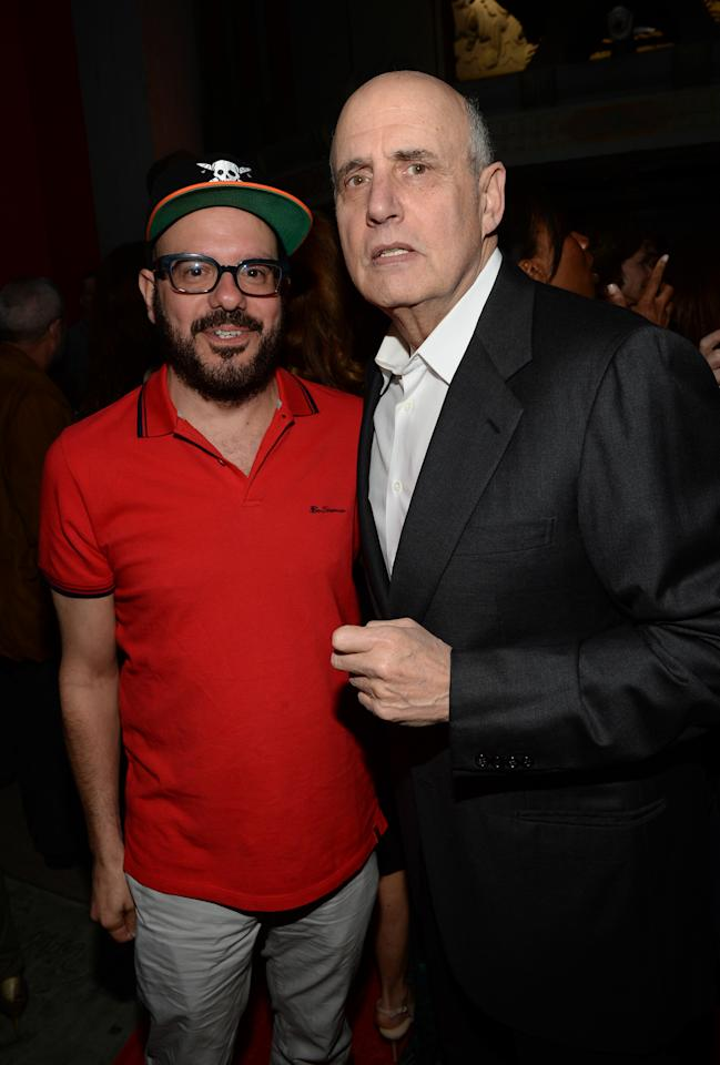 "HOLLYWOOD, CA - APRIL 29:  Actor David Cross (L) and actor Jeffrey Tambor arrive at the Los Angeles Premiere of Season 4 of Netflix's ""Arrested Development"" at the TCL Chinese Theatre on April 29, 2013 in Hollywood, California.  (Photo by Michael Buckner/Getty Images for Netflix)"