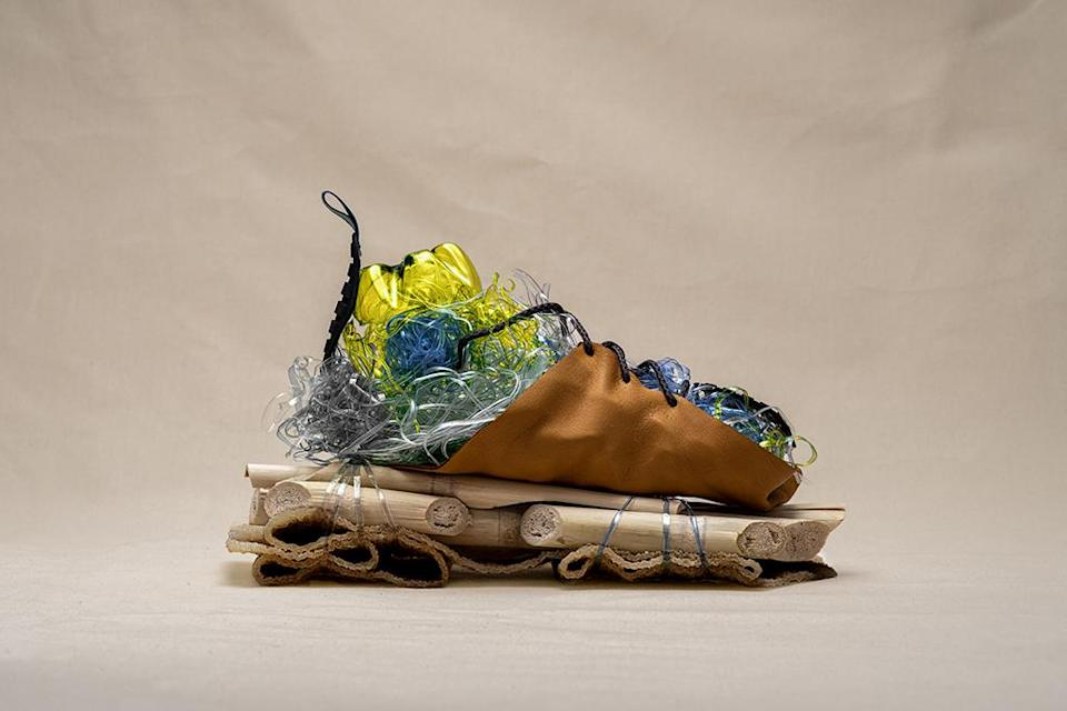 A sculpture highlighting the material innovation of the Timberland GreenStride Solar Ridge Waterproof Hikers. - Credit: Courtesy of Timberland