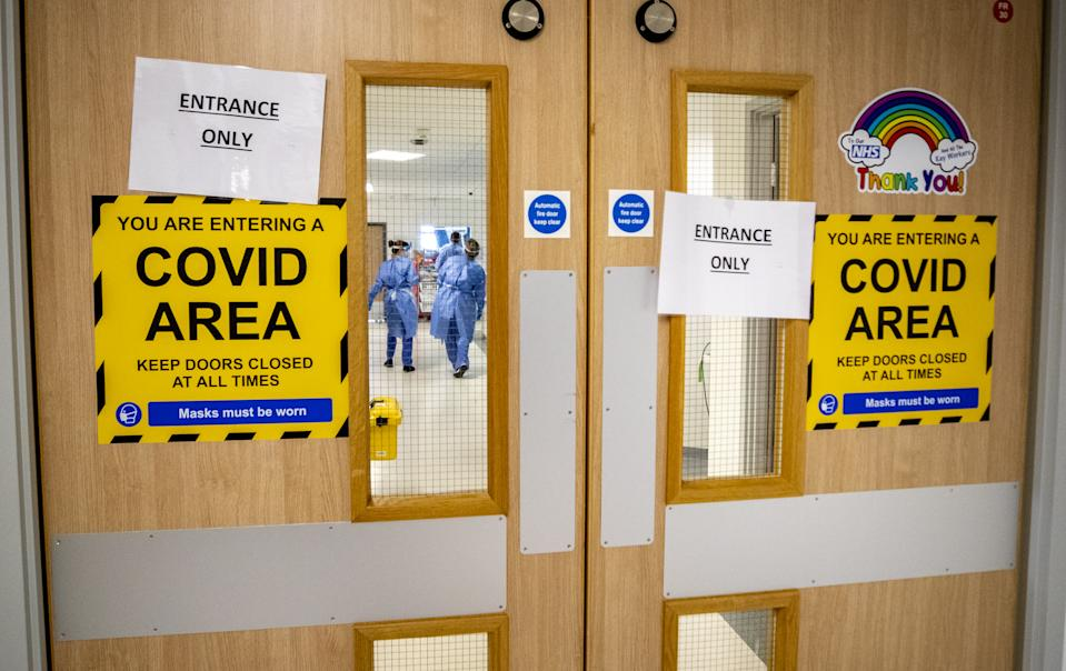 "One of five Covid-19 wards at Whiston Hospital in Merseyside. A medical director at the hospital has said the need to continue operations at the same time as treating coronavirus patients has ""significantly complicated"" the second wave."