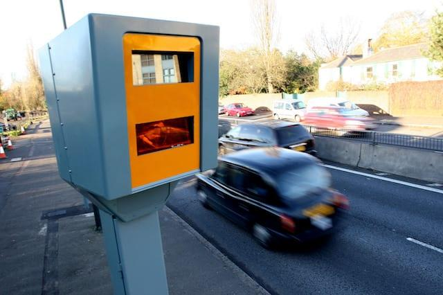 An average speed (time-over-distance) speed camera manufactured by Robot Visual Systems which is being trialled on the A3 dual Carriage way near Kingston Upon Thames, Surrey.
