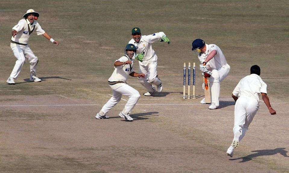 Andrew Flintoff is bowled by Danish Kaneria during England's trip to Pakistan in 2005-06.