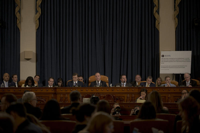 The House Intelligence Committee listens to testimony from witnesses Jennifer Williams, State Department official at the vice president's office, and Lt. Col. Alexander Vindeman, National Security Council staffer, during a hearing on the impeachment inquiry on Capitol Hill in Washington, D.C. on Nov. 19, 2019. | Gabriella Demczuk for TIME
