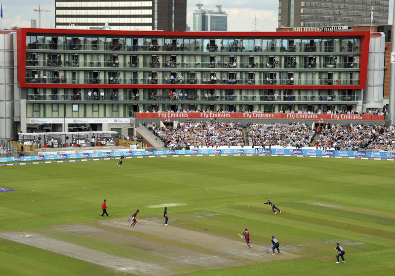 FILE - In this Tuesday, Sept. 19, 2017 file photo, shows a general view of play during the first Royal London One Day International match between England and West Indies at Emirates Old Trafford in Manchester, England. The 2019 Cricket Wold Cup starts in England on May 31, Old Trafford is on of the venues for the competition. (AP Photo/Rui Vieira, File)