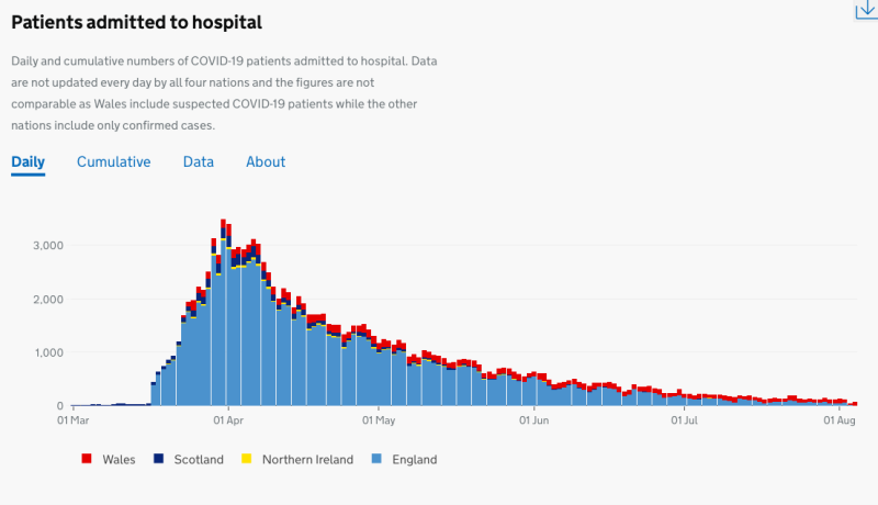 Government data shows the decline of patients admitted to hospital since the peak of the pandemic in April. (Gov.uk)