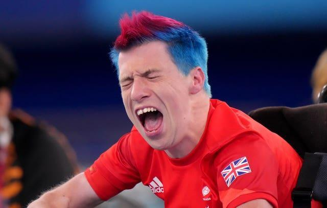 Great Britain's David Smith reacts in the individual – BC1 gold medal match