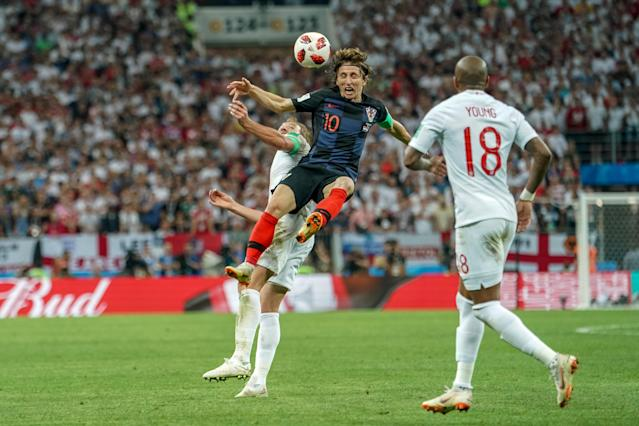 <p>Croatia versus England; Luka Modric of Croatia and Harry Kane of England fighting for the ball (photo by Ulrik Pedersen/Action Plus via Getty Images) </p>