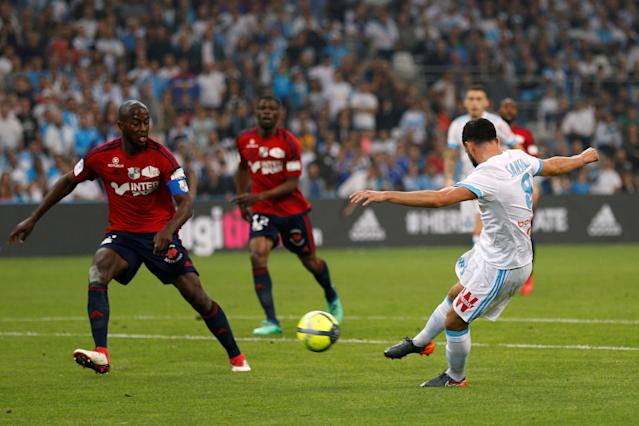 Soccer Football - Ligue 1 - Olympique de Marseille vs Amiens SC - Orange Velodrome, Marseille, France - May 19, 2018 Marseille's Morgan Sanson scores their first goal REUTERS/Philippe Laurenson