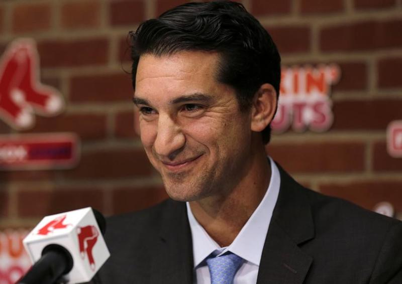 Mike Hazen during his introductory press conference as Red Sox general manager. (AP)