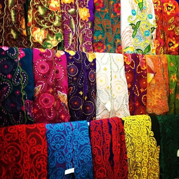 Fabrics: Embroidered cotton fabrics ready to be made into beautiful blouses. (