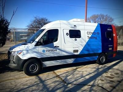 Curative Mobile Testing Van out in a community to provide COVID-19 testing.