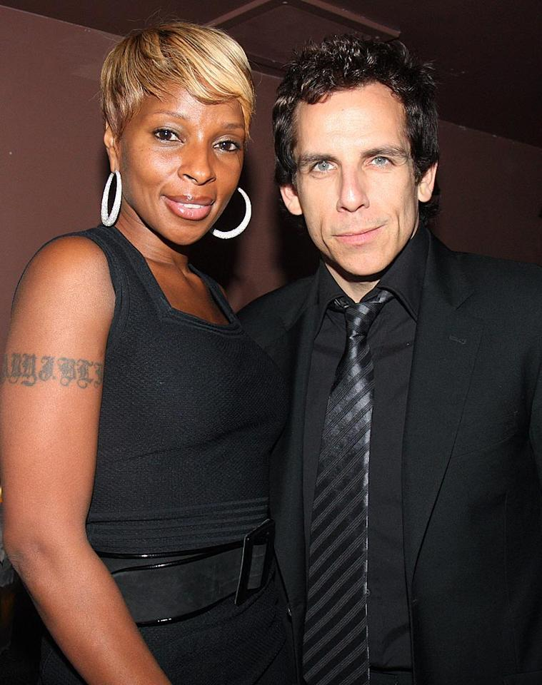 """Mary J. Blige and Ben Stiller strike a pose at the rap mogul's soiree. Johnny Nunez/<a href=""""http://www.wireimage.com"""" target=""""new"""">WireImage.com</a> - November 5, 2008"""