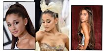 """<p>Whether it's her signature high pony or <a href=""""https://www.elle.com/uk/beauty/hair/a31986331/ariana-grande-natural-hair/"""" rel=""""nofollow noopener"""" target=""""_blank"""" data-ylk=""""slk:natural caramel curls"""" class=""""link rapid-noclick-resp"""">natural caramel curls</a>, Ariana Grande's <a href=""""https://www.elle.com/uk/beauty/hair/"""" rel=""""nofollow noopener"""" target=""""_blank"""" data-ylk=""""slk:hair"""" class=""""link rapid-noclick-resp"""">hair</a> is perpetually on point. Kicking off her career way back when with iconically noughties plum red lengths, the 'Thank U, Next' singer has since worked her way through everything from bleached <a href=""""https://www.elle.com/uk/beauty/hair/a37024/blonde-hair-trends/"""" rel=""""nofollow noopener"""" target=""""_blank"""" data-ylk=""""slk:blonde"""" class=""""link rapid-noclick-resp"""">blonde</a> extensions topped with a tulle bow at the Met Gala, to her, now legendary, poker straight <a href=""""https://www.elle.com/uk/beauty/hair/g14990/ponytail-hairstyles/"""" rel=""""nofollow noopener"""" target=""""_blank"""" data-ylk=""""slk:ponytail"""" class=""""link rapid-noclick-resp"""">ponytail</a>. Not forgetting, Grande's forays into ombre fringes, icy blue wigs and XXL animé-esque pigtails. </p><p>Whatever hair Ariana Grande's rocking, the fact remains that she always looks epic. Read on for every one of Ariana Grande's outstanding hair looks...</p>"""