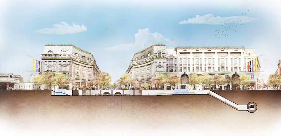 A cross-section of Oxford St showing the two new entrances into the London underground