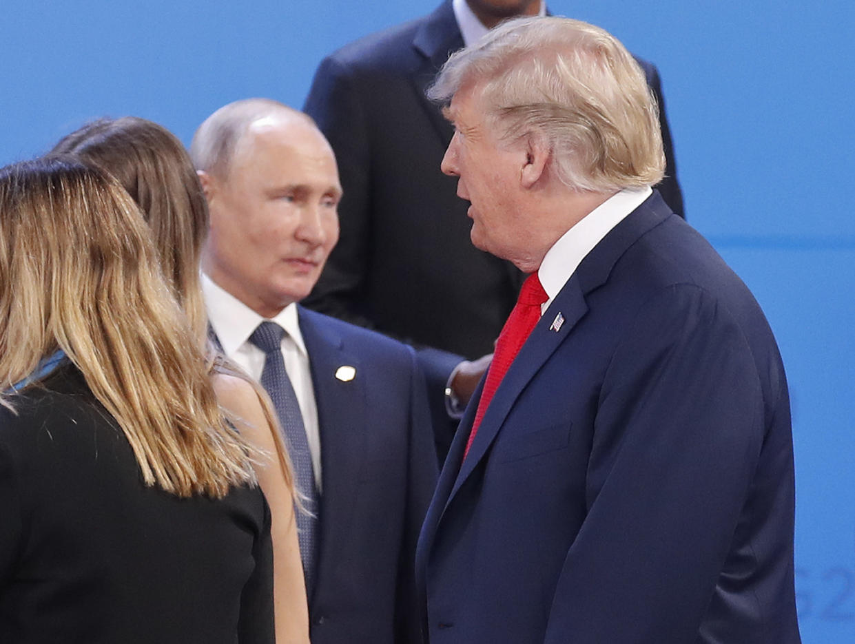 Russian President Vladimir Putin and President Trump at the start of the G-20 summit in Argentina. (Photo: Pablo Martinez Monsivais/AP)