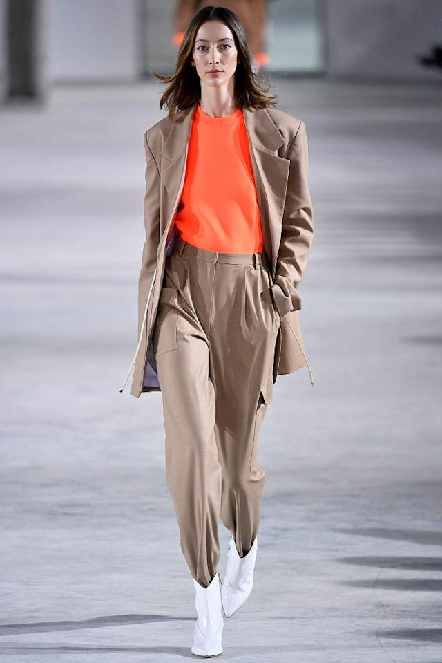 <p>Model wears a khaki pantsuit at the fall 2018 Tibi show. (Photo: Getty Images) </p>