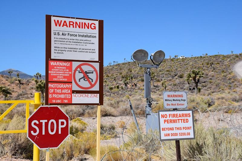 Security measures at the Area 51 perimeter. Note the white