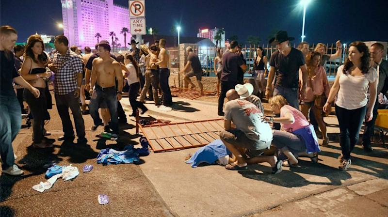 Concertgoers ran for their lives as gunfire rang out across the Vegas strip. Source: AP