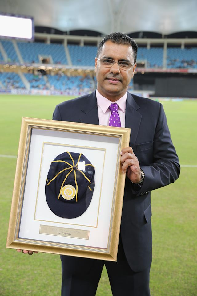 DUBAI, UNITED ARAB EMIRATES - DECEMBER 11:  Waqar Younis former Pakistani cricketer was inducted into the ICC Cricket Hall of Fame before the start of the first Twenty20 International match between Pakistan and Sri Lanka at Dubai Sports City Cricket Stadium on December 11, 2013 in Dubai, United Arab Emirates.  (Photo by Francois Nel/Getty Images)