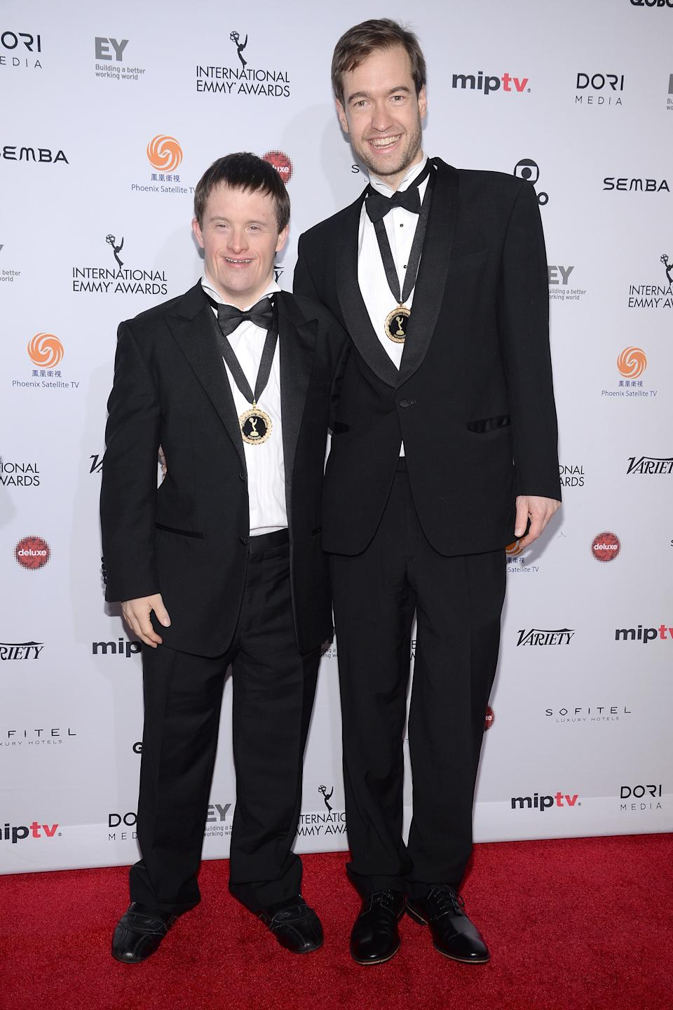 (L-R) Actor Tommy Jessop and Producer-Director Will Jessop attend the 43rd International Emmy Awards at the New York Hilton, in New York, NY, on November 23, 2015. (Photo by Anthony Behar) *** Please Use Credit from Credit Field ***