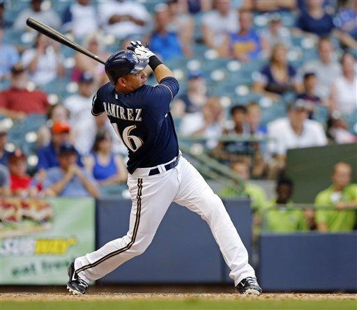 Milwaukee Brewers' Aramis Ramirez watches his two-run home run off Miami Marlins' Heath Bell during the 10th inning of a baseball game Tuesday, July 3, 2012, in Milwaukee. The Brewers won 13-12. (AP Photo/Tom Lynn)