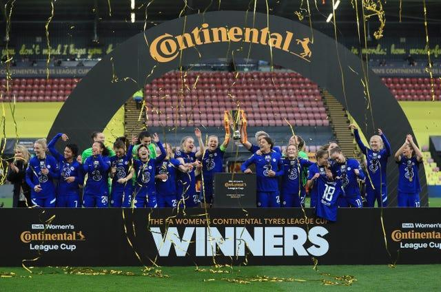 Chelsea Women celebrate their League Cup victory