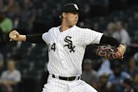 Chicago White Sox starting pitcher Michael Kopech (34) throws against the Detroit Tigers during the first inning of a baseball game, Wednesday, Sept. 5, 2018, in Chicago. (AP Photo/David Banks)