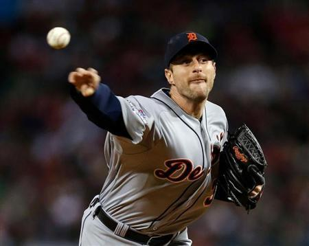 Detroit Tigers pitcher Max Scherzer (37) pitches during the third inning in game two of the American League Championship Series baseball game against the Boston Red Sox at Fenway Park. Greg M. Cooper-USA TODAY Sports