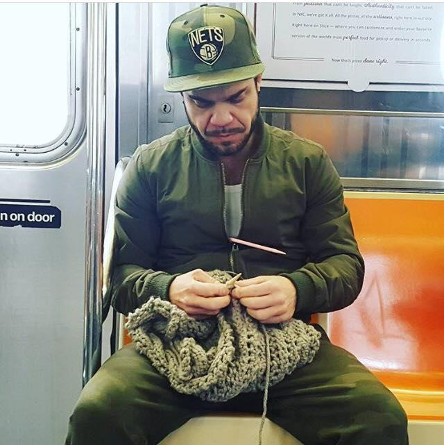 After singer Frenchie Davis shared a photo of Louis Boria knitting on the train, he has seen a rise in demand for his knitting business. (Photo: Facebook/Frenchie Davis)