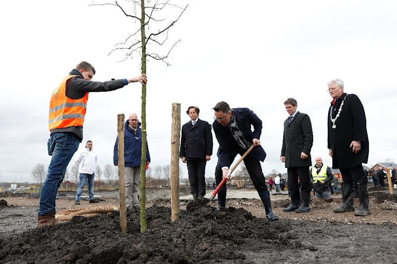 Dutch foreign affairs minister Bert Koenders (4L), Malaysia's Ambassador Ahmad Nazri Bin Yusof (C) and Tan Sri Mohamad Nor Yusof (3R), chairman of Malaysia Airlines, plant trees in memory of the victims of flight MH17 in Vijfhuizen on March 18, 2017