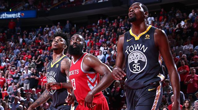 """<p>Saturday was theoretically a great day for sweeping playoff-centric takes, with the <a href=""""https://www.si.com/nba/2018/01/20/cleveland-cavaliers-defense-joke-eastern-conference-no-more-excuses"""" rel=""""nofollow noopener"""" target=""""_blank"""" data-ylk=""""slk:Cavs falling apart"""" class=""""link rapid-noclick-resp"""">Cavs falling apart</a> against a surging, star-led Thunder team in the afternoon, then the Warriors and Rockets deciding their season series in Houston a few hours later. It was a meeting rife with mistakes, but not lacking for symbolism as the hosts mostly imposed their will, capitalized on mistakes and came away with a 116-108 win.</p><p>True to its star-studded nature, this game had a little bit of everything. There was an extended ABC televised interlude bemoaning player-ref relations (and briefly losing sight of the actual game). There were oddities: Harden only shot two free throws, Eric Gordon was 0–9 from three, Klay Thompson had just eight points. There were 34 total turnovers. There was a sequence where Kevin Durant lost his shoe. Golden State's 14-game road win streak was snapped. And Houston remains undefeated in games where Chris Paul, James Harden and Clint Capela … all play. </p><p>All that made for an interesting matchup atop what is always a fun watch — these are two dynamic offenses with key stylistic differences. The Warriors harp on ball movement and unselfishness and unshakeable chemistry. The Rockets are more reliant on quick actions and allowing Harden and Paul to dictate the game out of isolation and high ball screens. Houston's duo was spectacular, with Paul sniffing a triple-double (33 points, 11 rebounds and seven assists) and Harden adding 22 points and eight assists. Even without a suspended Trevor Ariza, the rotational glue held fast. </p><p>The Rockets opened strong, as Harden drained three threes in the first two minutes (in just his second game back from injury) and Paul dictated play effectively and had his three-ball working. The Wa"""